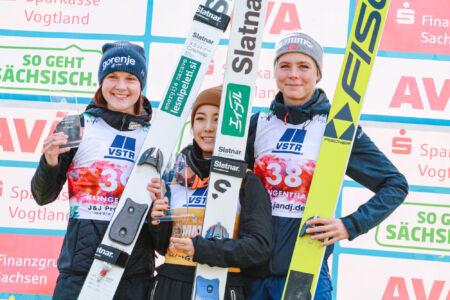 1. Sara Takanashi, 2. Ema Klinec, 3. Maren Lundby - WSGP Klingenthal 2018