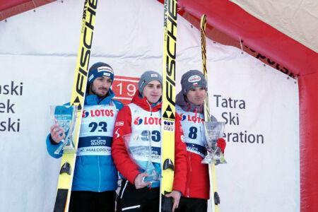 FIS Cup Zakopane 2017 - Podium 1. Ulrich Wohlgenannt, 2. Killian Peier, 3. Andrzej Stękała (2)