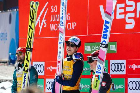 PŚ Planica 2019 - Podium klasyfikacji generalnej Pucharu Świata w lotach
