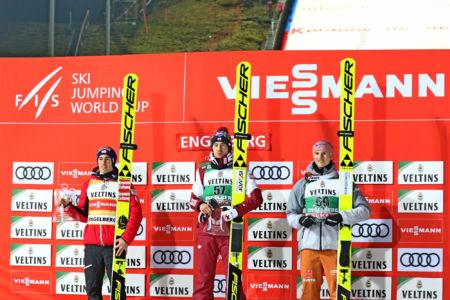 WC Engelberg 2019 - 1. Kamil Stoch, 2. Stefan Kraft, 3. Karl Geiger