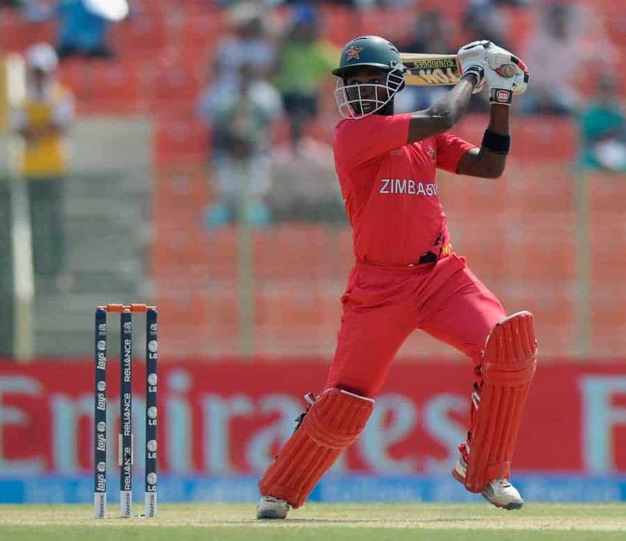 Elton Chigumbura strikes the ball hard