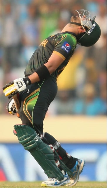 Umar Akmal reacts after getting dismissed for 94 runs