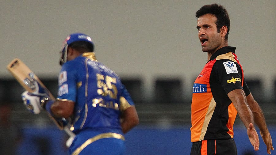 Irfan Pathan after taking wicket of Pollard