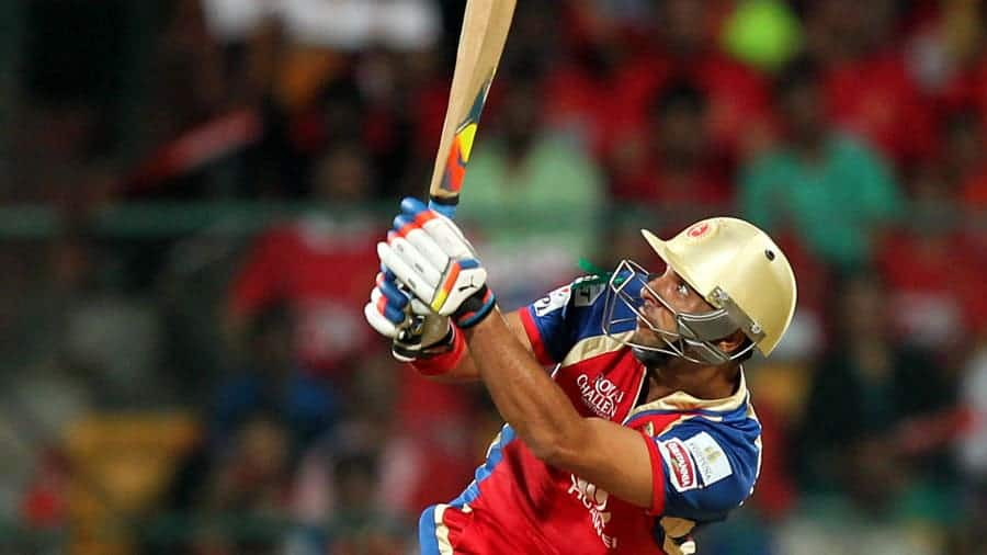 Yuvraj Singh hitting one of his nine sixes