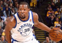 Kevin Durant in action for the Golden State Warriors