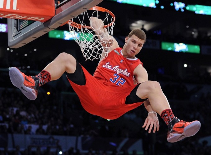 Griffin dunking in the Sprite Slam Dunk Contest