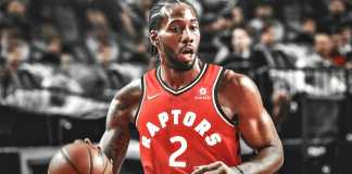 Kawhi Leonard in action for Toronto Raptors