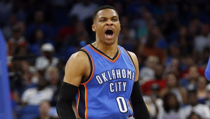 Russel Westbrook Playing for Oklahoma City Thunders–2017