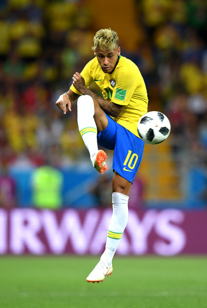 Neymar Jr playing for Brazil at the 2018 FIFA World Cup in Russia