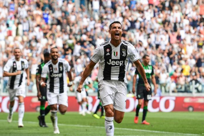 Ronaldo celebrates his first goal for Juventus