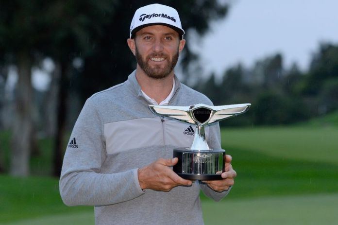 Photo of Dustin Johnson with his Genesis Open Trophy