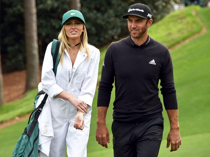 Photo of Dustin Johnson with his wife Paulina Gretzky