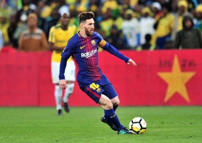 Lionel Messi playing for FC Barcelona