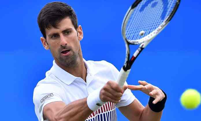 Novak Djokovic in action at the 2017 Madrid Open