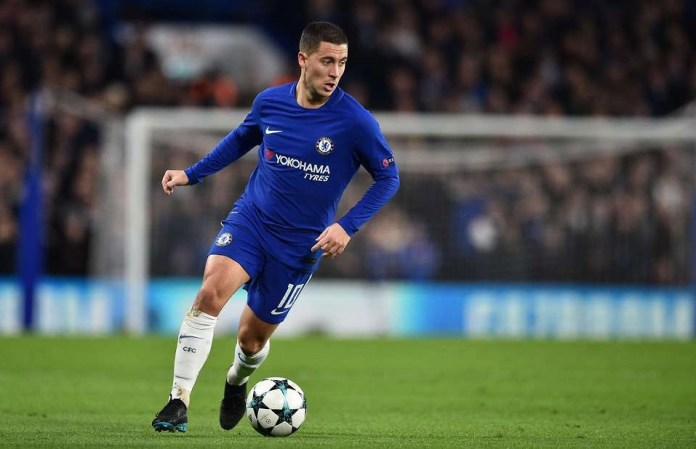 Eden Hazard playing for Chelsea F.C.