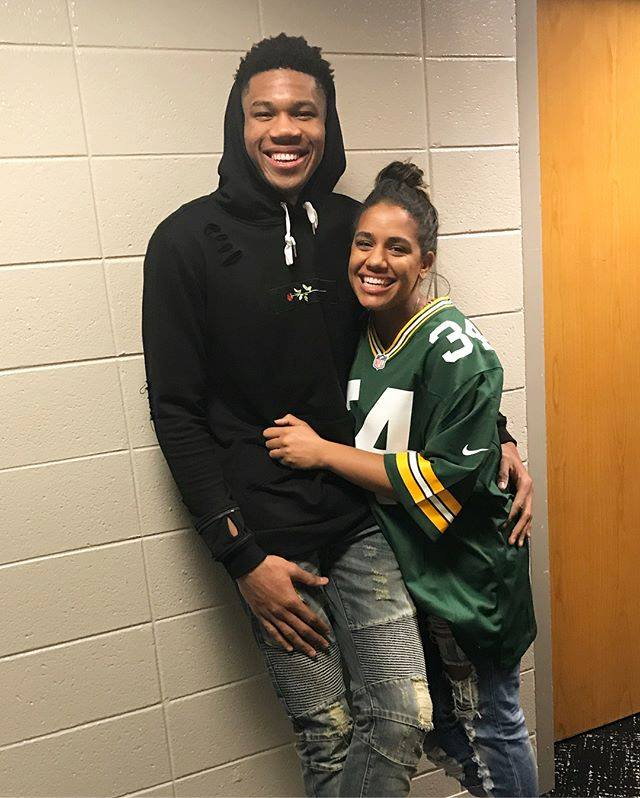 Giannis Antetokounmpo with his girlfriend Mariah Riddlesprigger