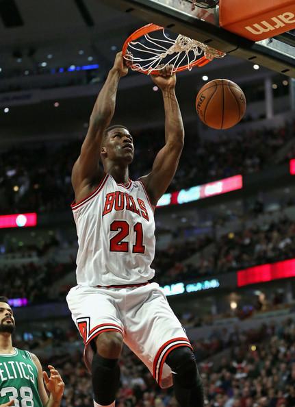 Jimmy Butler dunks for Chicago Bulls against Boston Celtics