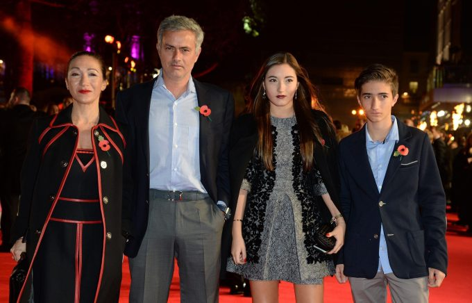 Jose Mourinho with his wife and kids