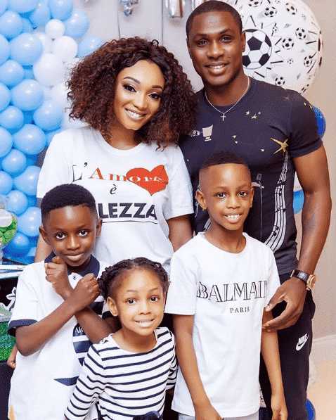 Odion Ighalo with his wife and kids