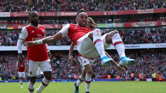 Arsenal's Pierre-Emerick Aubameyang celebrates