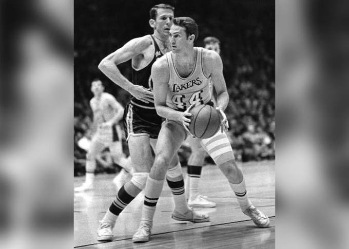 Photo of Jerry West (foreground) with the Los Angeles Lakers