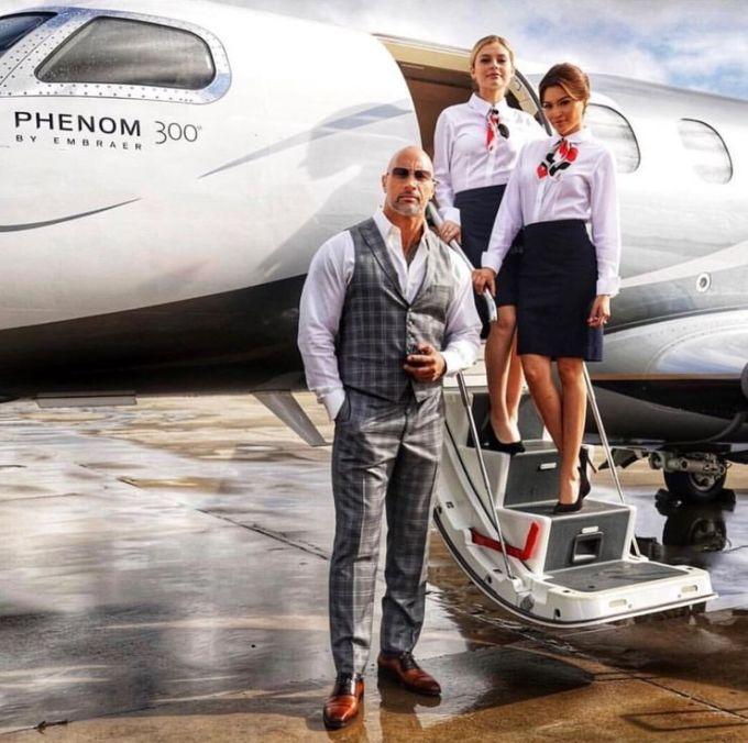 Dwayne Johnson always fly private