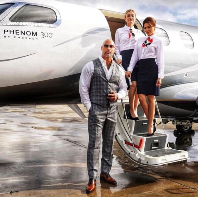 Dwayne Johnson always fly private