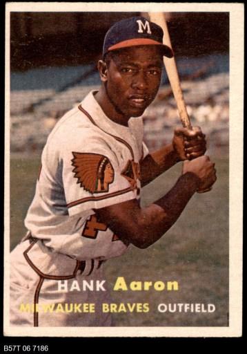 1957 Topps #20 Hank Aaron Baseball Card