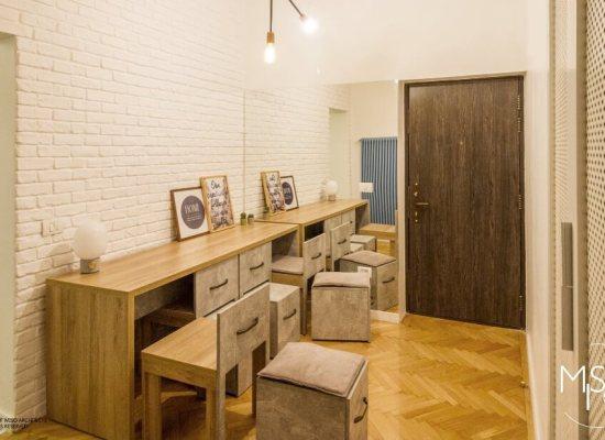 Proiect de amenajare a unui apartament de 60 mp cu 2 camere din București, zona centrală, clădire din perioada interbelică