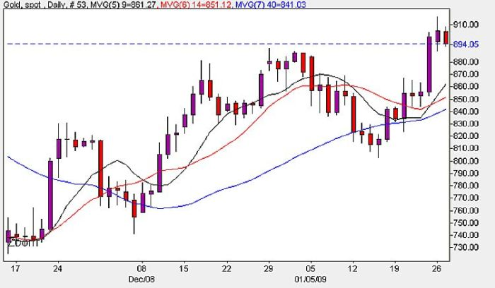 Gold Spot Prices Daily Chart - 27th January 2009