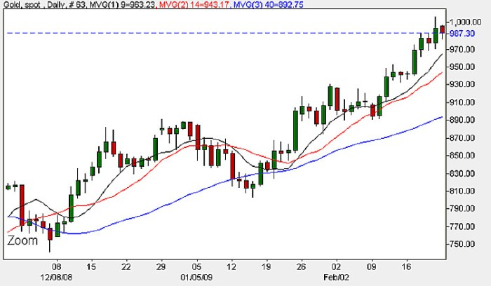 Spot Gold Prices - Daily Candle Chart 23rd February 2009