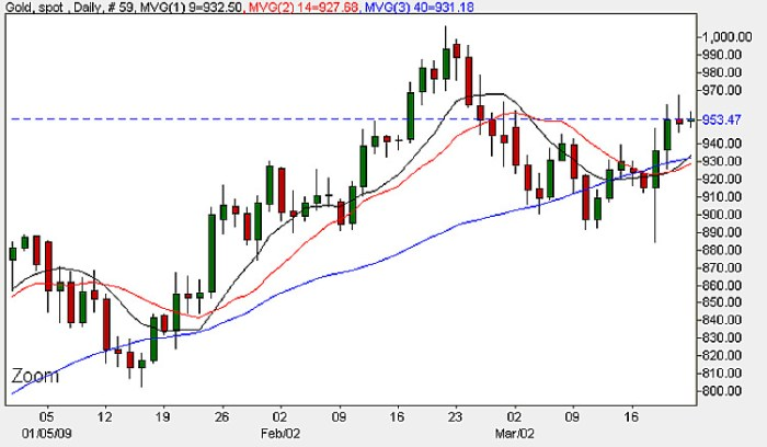Spot Gold Daily Price Chart - 23rd March 2009