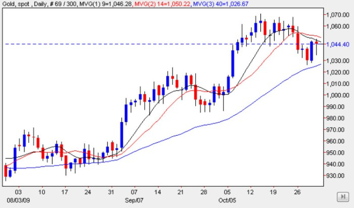 Spot Gold Prices - Daily Gold Chart 2nd November 2009