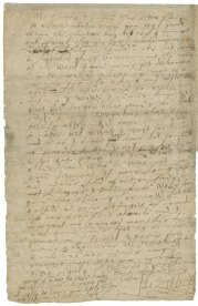 "Elizabeth I Autograph letter, signed, to James VI of Scotland, ca. 1592/3 March. Although Elizabeth did not wish to declare a successor during her lifetime, she certainly had James VI of Scotland (1566-1625) in mind. She paid the younger man an allowance and kept up a correspondence with him. In this letter she warns him to deal more forcefully with a group of belligerent Catholic earls in Scotland who were planning to support a Spanish invasion of the country. At the end of the letter, when she is running out of paper, she apologizes for her handwriting: ""Now do I remember your cumber to read such scribbled lines."""