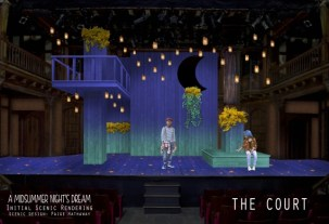 Initial Scenic Rendering for A Midsummer Night's Dream. Set Designer: Paige Hathaway.