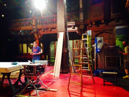 Technical Director Charles Flye on set during load-in.