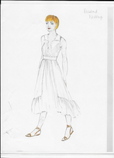 Costume rendering for Rosalind (wedding). Charlotte Palmer-Lane.