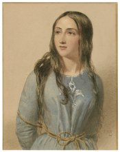 Joan of Arc from 'Heroines of Shakespeare,' watercolor, John William Wright. Folger Shakespeare Library.
