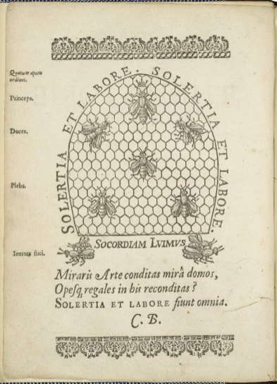 The feminine monarchie: or The historie of bees by Charles Butler, 1623. Folger Shakespeare Library: STC 4193 copy 2, frontispiece.