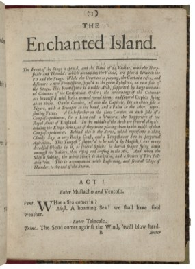 Page showing 'The Enchanted Island' with a lengthy stage direction and the beginning of the play