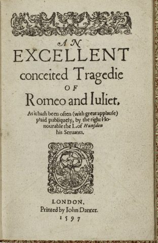 Title page of the 1597 first quarto printing of Romeo and Juliet