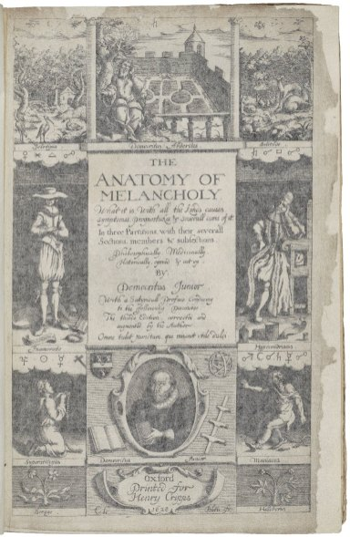 Title page of The Anatomy of Melancholy by Robert Burton showing elements of melancholy, possible cures, and types of melancholics