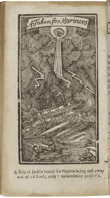 17th-century Illustration of a shipwreck with a caption recounting only 7 of the 26 passengers survived
