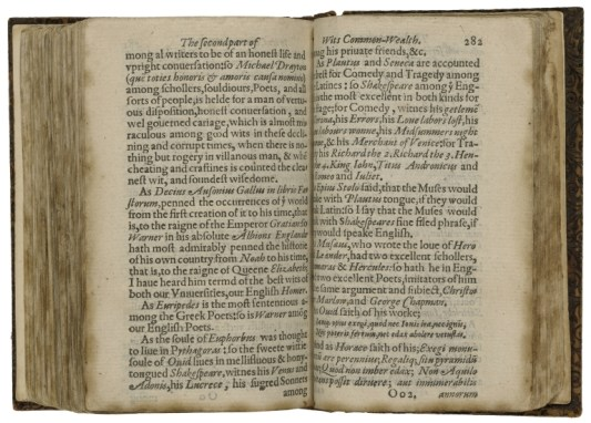 """Francis Meres, Palladis Tamia: p. 282, reference to Shakespeare's """"sugred Sonnets"""" at the bottom of the first page. Folger Shakespeare Library: STC 17834 copy 1"""