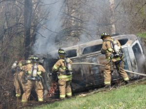 Firefighters respond to the scene. Photos provided by Bethlehem Police.