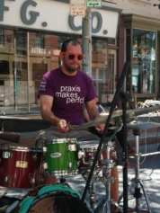 A drummer performs at the south end of River Street during Troy River Fest on Saturday, June 18.