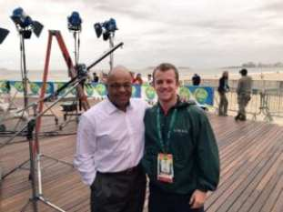 Trosset and esteemed mentor Mike Tirico on the set at Copacabana beach