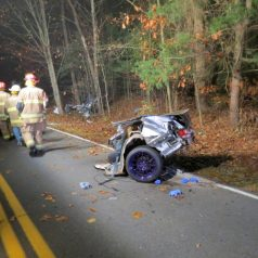 Fatal one-car accident on Bender Lane in Delmar, Saturday, Nov. 19. (Photo by Thomas Heffernan, Sr./spotlightnews)