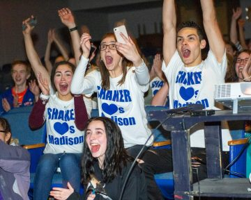 Madison VanDenburg fans celebrate at Shaker High School after American Idol announced she made the final four. (Jim Franco/Spotlight News)