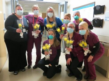 St Peter's nurses with roses